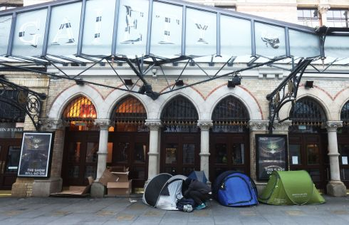 SLEEPING ROUGH: There is a growing number of tents belonging to rough sleepers outside the Gaiety Theatre in Dublin on Friday. Photograph: Leah Farrell/RollingNews.ie