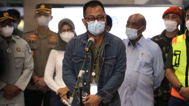 Director of Sriwijaya Air Jefferson Jauwena speaks to the media during a press conference at the crisis centre in Soekarno-Hatta International Airport. Photograph: Mast Irham/EPA