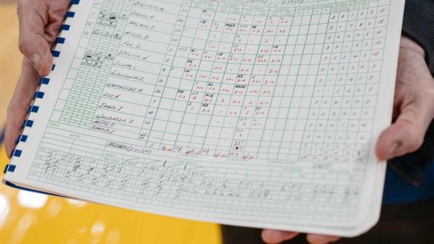 The most recent NBA scorebook used by Fred Kast, the official scorer for the Golden State Warriors. Photograph: The New York Times