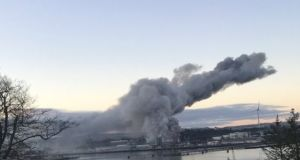 A view of the fire at a grain storage facility in Cork Harbour on Saturday. Photograph: Simon O'Regan/Twitter