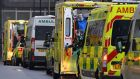 Paramedics are seen in a line of ambulances outside the Royal London Hospital, Britain. Northern Ireland reported another 26 Covid-19 deaths over the weekend. Photograph: Justin Tallis/AFP via Getty Images