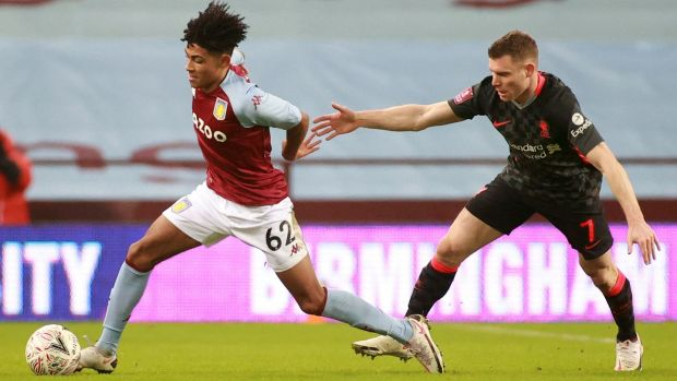 James Milnerin action against a very young Aston Villa team on Friday night. Photograph: Getty Images