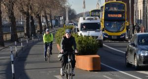 There were a 3% increase in cyclists  in Dublin city during off-peak hours in December 2020 compared with December 2019. Photograph: Alan Betson