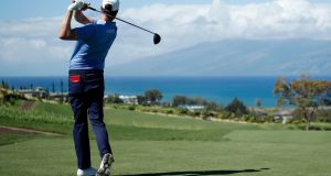 Harris English hits his tee shot from the seventh tee during the final round of the Sentry Tournament Of Champions at the Kapalua Plantation Course. Photo: Cliff Hawkins/Getty Images