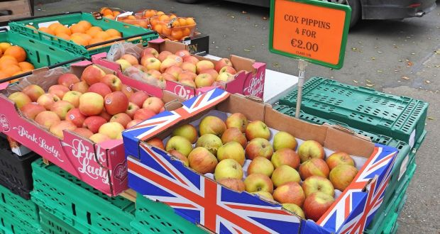 Cox Pippin apple and orange display market stall display in Bray, Co Wicklow.