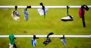 A view of shoes left by Mother and Baby Homes protesters at Phoenix Park, Dublin. Photograph: Tom Honan