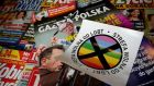 File photograph showing a sticker with words 'LGBT-free zone' distributed in weekly conservative magazine Gazeta Polska, in Warsaw, in 2019. Photograph: Kacper Pempel/Reuters