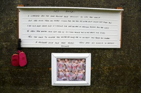 ANGELS IN HEAVEN: Memorial items made by historian Catherine Corless on a wall at the Tuam Mother and Baby home burial ground, on Tuesday. Photograph: Joe O'Shaughnessy