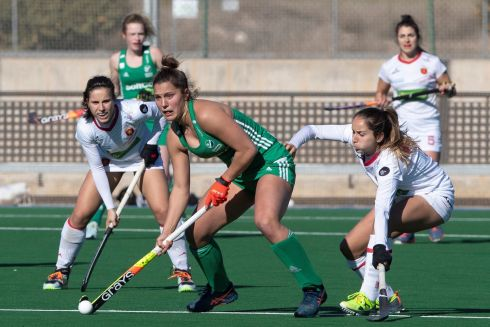 HOCKEY HOPEFULS: Ireland's Shirley McCay in action against Spain's Berta Boastre (right) during a field hockey friendly   ahead of hoped-for participation in the postponed 2020 Tokyo Olympics, in Santomera, Murcia, Spain. The Tokyo Games are supposed to take place July 23rd to August 8th next. Photograph: Marcial Guillen/EPA