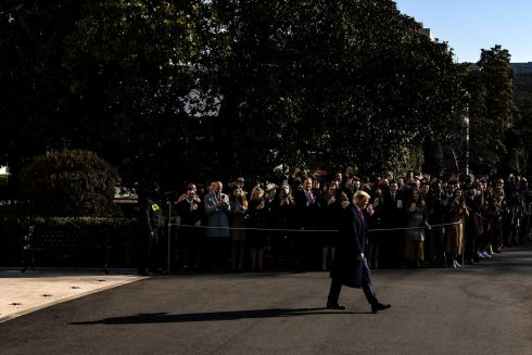ALAMO MOMENT: US President Donald J Trump leaves the White House in Washington, DC, en route to Alamo, Texas to visit the border wall between the US and Mexico. Photograph: Samuel Corum/EPA