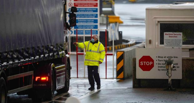 A truck driver checks in with security at the Port of Larne. Photograph: Mark Marlow/Bloomberg