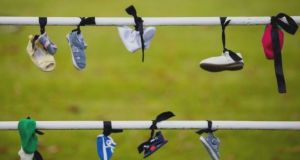 A file photograph of shoes left by Mother and Baby Homes protesters at Phoenix Park, Dublin. Photograph: Tom Honan