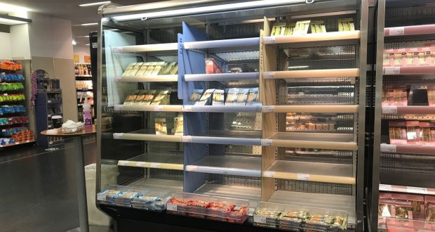 Depleted shelves in Marks & Spencer at Donegall Place in Belfast as major retailers in Northern Ireland continue to experience Brexit-related disruption. Photograph: PA