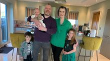 Gary and Annette with their children Cora (7), Ollie (4) and baby Páidí.