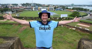 England cricket fan Rob Lewis is hoping to watch the first Test against Sri Lanka from the ramparts of Galle Fort after spending 10 months in the country waiting for England to return. Photograph: Lakruwan WanniarachchI/AFP via Getty Images