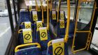 Dublin Bus social distance seat signage. Photograph Nick Bradshaw / The Irish Times