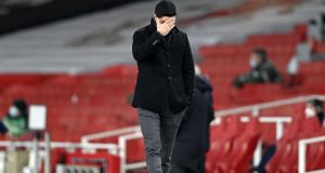 Mikel Arteta looks frustrated during Arsenal's draw with Crystal Palace. Photograph: Neil Hall/Getty/AFP