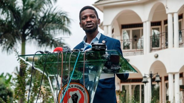 Musician-turned-politician Robert Kyagulanyi, also known as Bobi Wine, speaks during a press conference at his home in Magere, Uganda, on Friday. Photograph: Sumy Sadruni/AFP via Getty Images