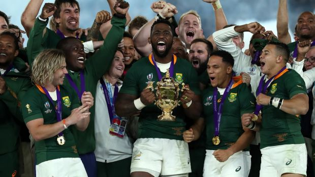 Siya Kolisi, the South Africa captain, celebrates with team mates after their victory over England in the 2019 World Cup final in Japan. Photograph: David Rogers/Getty Images