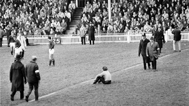 Anti-apartheid protesters disrupt a Springboks versus Miidland Counties rugby game in 1969. Photograph: R. Powell/Express/Getty Images