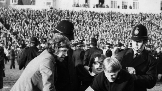 A demonstrator is carried off at anti-apartheid protest at Springbok match at Swansea during the controversial 1969 tour. Photograph: Central Press/Getty Images