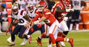 Patrick Mahomes  of the Kansas City Chiefs makes a pass against the New England Patriots  at Arrowhead Stadium. Kansas are favourites to see off the challenge of Cleveland Brownsi. Photograph:Jamie Squire/Getty Images