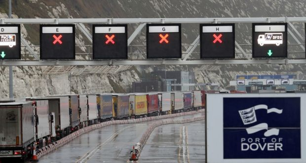 Freight lorries queueing at the check-in area for the Port of Dover in Kent, where Channel traffic has begin to build up following a quiet start to the year. Photograph: Gareth Fuller/PA Wire