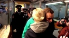 The moment Alexei Navalny got detained on return to Moscow
