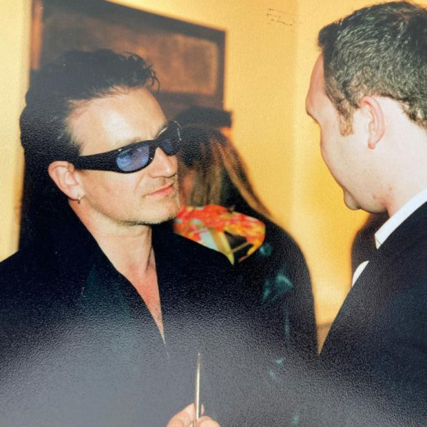 Memento: Jason O'Callaghan's photograph of himself with Bono, on the singer's 40th birthday, in 2000