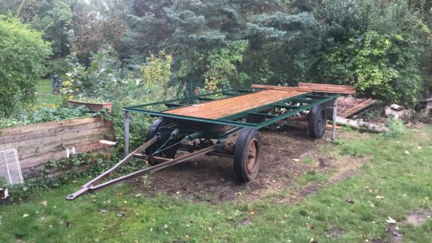 A hay bale trailer get ready for its new life