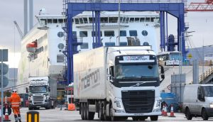 Freight trucks stationed at Dublin Port. Delays on moving goods between the UK and Ireland have been blamed on blockages on the British side of the Irish Sea and some importers not being prepared for Brexit. Photograph: Sasko Lazarov/RollingNews.ie