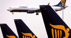 In Dublin,  shares of Ryanair fell 3.1 per cent to close at €15.30. Photograph: Andy Rain/EPA