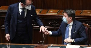 Italian prime minister Giuseppe Conte (right) with justice minister Alfonso Bonafede in the lower house of the Parliament in Rome on Monday. Photograph: Ettore Ferrari/EPA