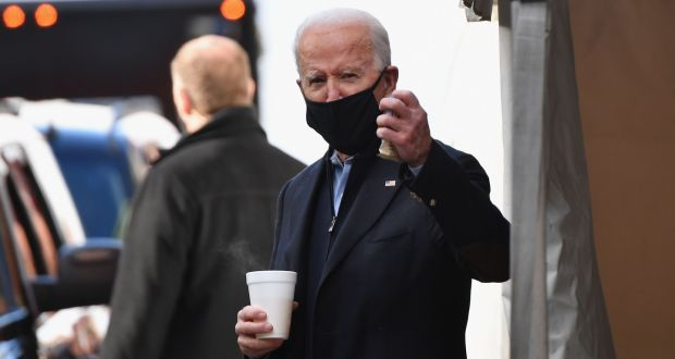 US president-elect Joe Biden after meeting with transition advisers  in Wilmington, Delaware, on Monday. Photograph: Angela weiss/AFP via Getty Images