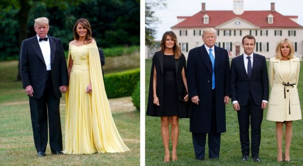 The Trumps on their way to a gala in Washington in 2018; and with French president Emmanuel Macron and his wife and Brigitte Macron in Virginia in 2018. Photographs: Doug Mills/Tom Brenner/The New York Times
