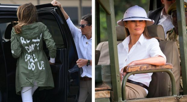 Melania Trump in McAllen, Texas, in 2018; and on a visit to Kenya in 2018. Photographs: Andrew Harnik/Associated Press and Doug Mills/The New York Times