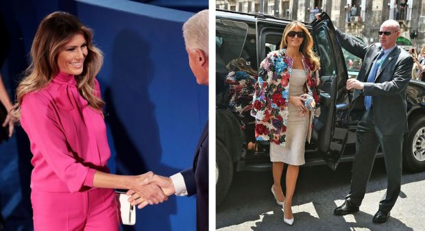 Melania Trump at the second presidential debate in 2016; and in Italy during the 2017 G7 summit. Photograph: Patrick Semansky/Associated Press/Giovanni Isolino/Agence France-Presse