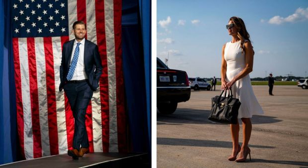 Eric Trump at a 2019 campaign rally; Hope Hicks the former White House communications director, in 2018. Photographs: Doug Mills/Al Drago/The New York Times