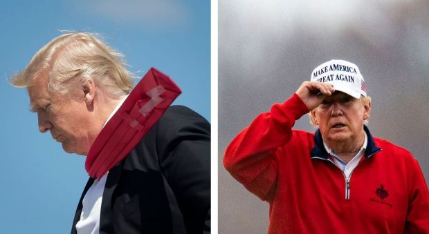 Donald Trump in Orlando, Florida, in 2017; and at Trump National Golf Club in Virginia in December 2020. Photographs: Stephen Crowley/The New York Times and Al Drago/Getty Images