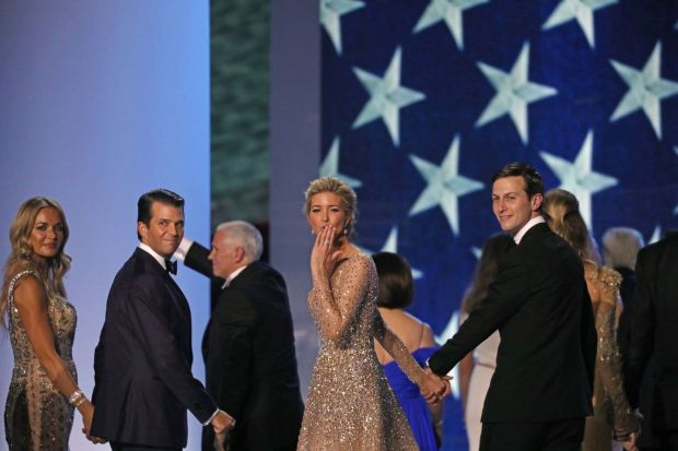 Vanessa Trump, Donald Trump jnr, Ivanka Trump and Jared Kushner at the Freedom Ball after the 2017 inauguration. Photograph: Todd Heisler/The New York Times