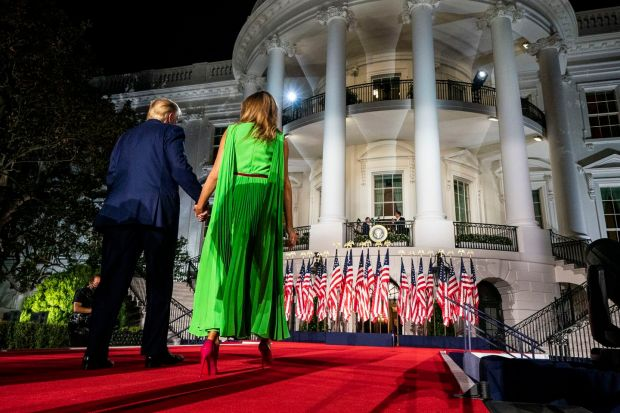 On the South Lawn of the White House after the president addressed the Republican National Convention in August 2020. Photograph: Doug Mills/The New York Times