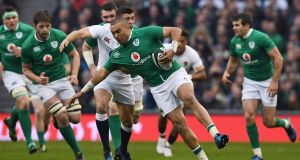 Simon Zebo in action for Ireland against England during the 2017 Six Nations at the Aviva stadium. Photograph: Shaun Botterill/Getty Images