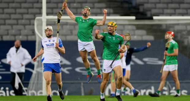 Limerick's Seán Finn and Dan Morrissey celebrate at the final whistle after the All-Ireland hurling final win over Waterford at Croke Park in December. Photograph: James Crombie/Inpho