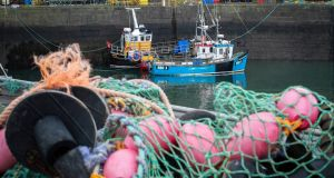 Fishing boats moored in Dunbar Harbour, East Lothian. Photograph: Jane Barlow/PA Wire