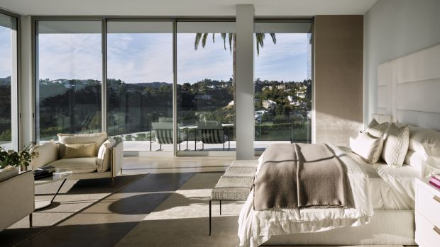 The a 5,500sq ft master suite featured in the LA superhome.