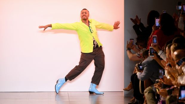 Designer Christopher John Rogers walks the runway during New York Fashion Week, 2019. Photograph: Dia Dipasupil / Getty Images