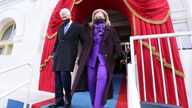 Former US President Bill Clinton and former presidential candidate Hillary Clinton.  Photograph: EPA / Jonathan Ernst
