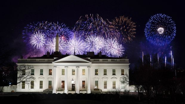 Fireworks are displayed over the White House as part of the inauguration day ceremonies. Photograph: David J Phillip/AP