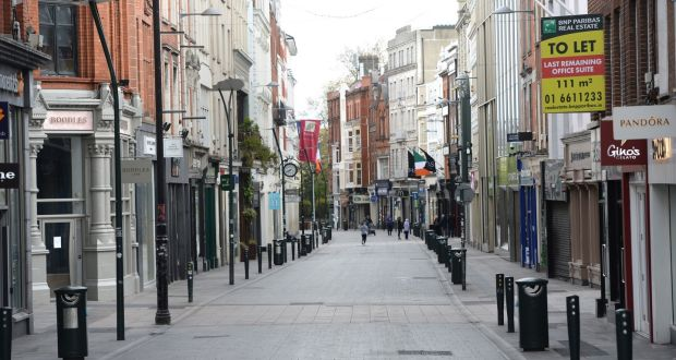 A deserted Grafton Street in Dublin  during lockdown. The surge in Covid cases  means that the serious lockdown will persist for some time to come