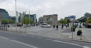 The woman was attacked when walking along the pedestrian walkway between George's Dock and Custom House Quay at the IFSC at about 9.30pm. Photograph: Google Maps